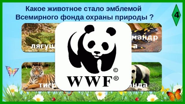 Какое животное стало эмблемой Всемирного фонда охраны природы ? 4  лягушка саламандра тигр панда