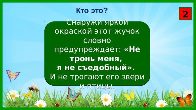 Кто это? 2 Снаружи яркой окраской этот жучок словно предупреждает: «Не тронь меня, я не съедобный». И не трогают его звери и птицы.