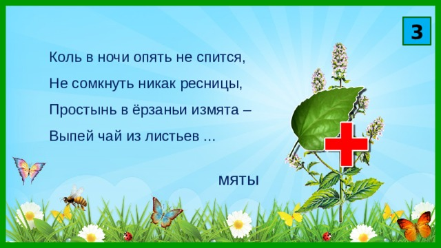 3 Коль в ночи опять не спится,  Не сомкнуть никак ресницы,  Простынь в ёрзаньи измята –  Выпей чай из листьев ... мяты