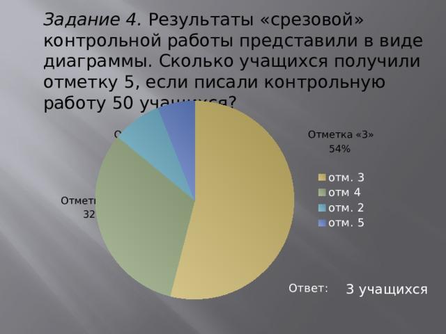 Задание 4. Результаты «срезовой» контрольной работы представили в виде диаграммы. Сколько учащихся получили отметку 5, если писали контрольную работу 50 учащихся?  Отметка «5»  Отметка «2» Отметка «3»  8% 54%  Отметка «4»  32% Ответ: 3 учащихся