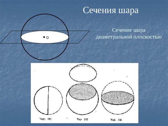 Сечения шара Сечение шара диаметральной плоскостью  О