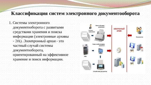 Классификация систем электронного документооборота 1. Системы электронного документооборота с развитыми средствами хранения и поиска информации (электронные архивы - ЭА). Электронный архив - это частный случай системы документооборота, ориентированный на эффективное хранение и поиск информации.