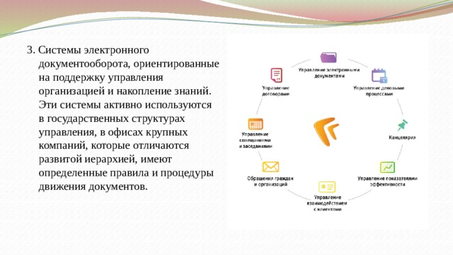 3. Системы электронного документооборота, ориентированные на поддержку управления организацией и накопление знаний. Эти системы активно используются в государственных структурах управления, в офисах крупных компаний, которые отличаются развитой иерархией, имеют определенные правила и процедуры движения документов.