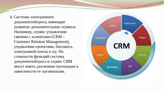 4. Системы электронного документооборота, имеющие развитые дополнительные сервисы. Например, сервис управления связями с клиентами (CRM - Customer Relation Management), управления проектами, биллинга, электронной почты и пр. По сложности функций система документооборота и сервис CRM могут иметь различные пропорции в зависимости от организации.