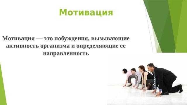 Мотивация Мотивация — это побуждения, вызывающие активность организма и определяющие ее направленность