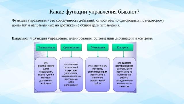 Какие функции управления бывают?   Функции управления - это совокупность действий, относительно однородных по некоторому признаку и направленных на достижение общей целиуправления. Выделяют 4 функции управления: планирования, организации ,мотивации и контроля
