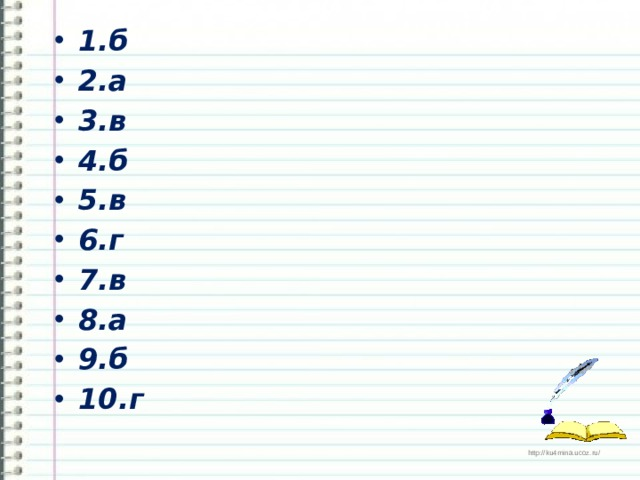 1.б 2.а 3.в 4.б 5.в 6.г 7.в 8.а 9.б 10.г