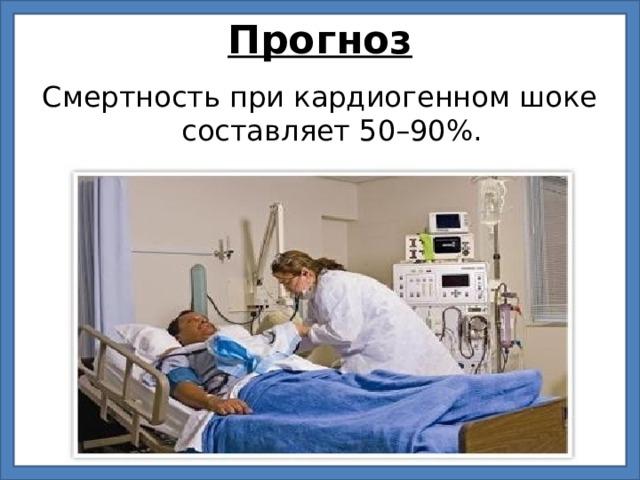 Прогноз Смертность при кардиогенном шоке составляет 50–90%.