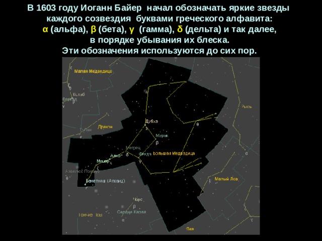 В1603 годуИоганнБайер началобозначатьяркиезвезды каждогосозвездия буквамигреческогоалфавита: α (альфа), β (бета), γ  (гамма), δ (дельта) итакдалее, впорядкеубыванияихблеска. Этиобозначенияиспользуютсядосихпор.