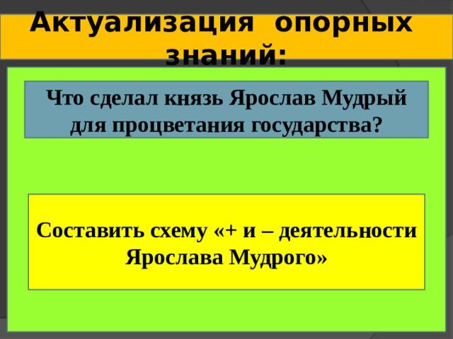 Актуализация опорных знаний: Что сделал князь Ярослав Мудрый для процветания государства? Составить схему «+ и – деятельности Ярослава Мудрого»