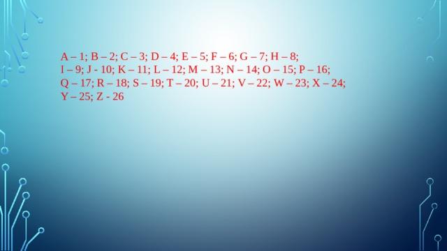 A – 1; B – 2; C – 3; D – 4; E – 5; F – 6; G – 7; H – 8; I – 9; J - 10; K – 11; L – 12; M – 13; N – 14; O – 15; P – 16; Q – 17; R – 18; S – 19; T – 20; U – 21; V – 22; W – 23; X – 24; Y – 25; Z - 26