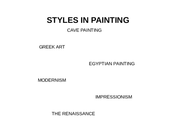 STYLES IN PAINTING  CAVE PAINTING  GREEK ART  EGYPTIAN PAINTING  MODERNISM  IMPRESSIONISM  THE RENAISSANCE