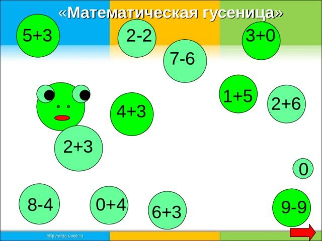 « Математическая гусеница » 3+0 2-2 5+3 7-6 1+5 2+6 4+3 2+3 0 8-4 0+4 9-9 6+3