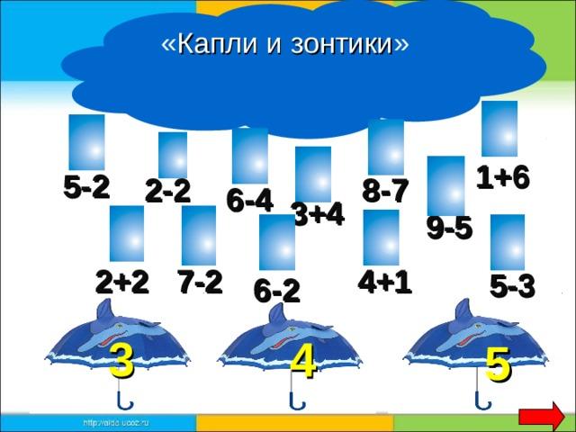 « Капли и зонтики »  1+6 5-2 2-2 8-7 6-4 3+4 9-5 2+2 4+1 7-2 5-3 6-2 3 4 5