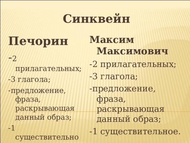 Синквейн Печорин Максим Максимович - 2 прилагательных; -2 прилагательных; -3 глагола; -3 глагола; -предложение, фраза, раскрывающая данный образ; -предложение, фраза, раскрывающая данный образ; -1 существительное. -1 существительное.