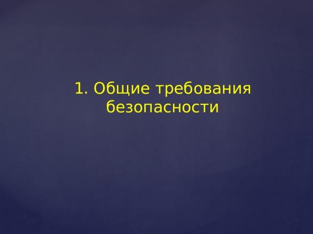 1. Общие требования безопасности
