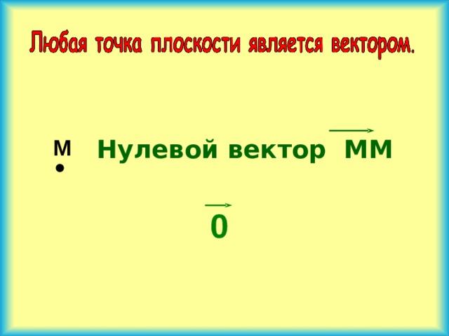 М Нулевой вектор ММ 0