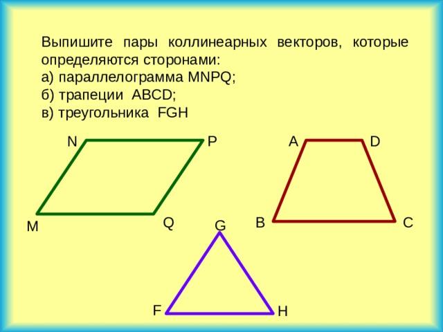 Выпишите пары коллинеарных векторов, которые определяются сторонами: а) параллелограмма MNPQ ; б) трапеции ABCD ; в) треугольника FGH P D A N Q B C G M  F H