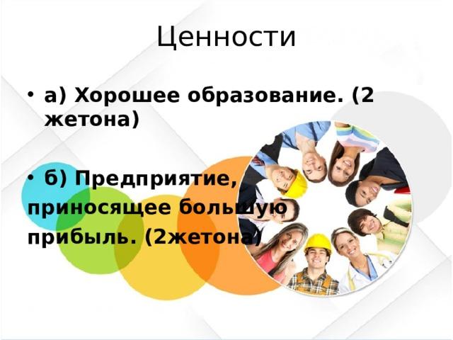 Ценности а) Хорошее образование. (2 жетона)  б) Предприятие, приносящее большую прибыль. (2жетона)