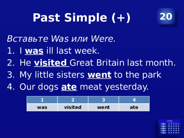 Past Simple (+) 20 Вставьте Was или Were. I was ill last week. He visited Great Britain last month. My little sisters went to the park Our dogs ate meat yesterday. 1 2 was 3 visited 4 went ate
