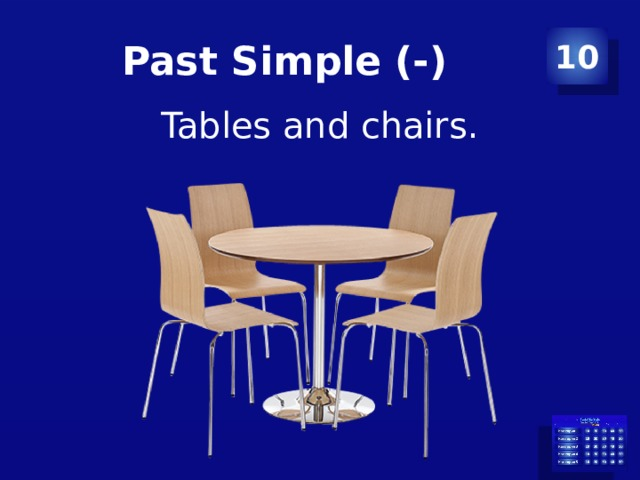 Past Simple (-) 10 Tables and chairs.