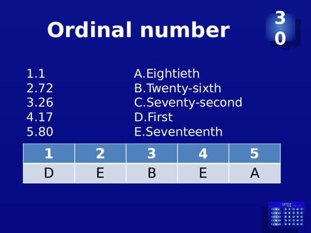 Ordinal number 30 1 72 26 17 80 Eightieth Twenty-sixth Seventy-second First Seventeenth 1 D 2 3 E 4 B 5 E A