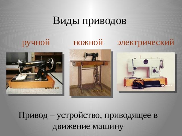 Виды приводов ручной ножной электрический Привод – устройство, приводящее в движение машину