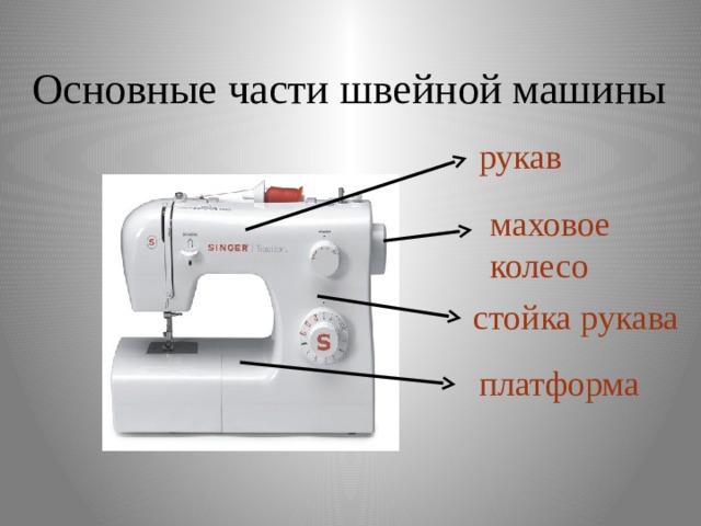 Основные части швейной машины рукав маховое колесо стойка рукава платформа