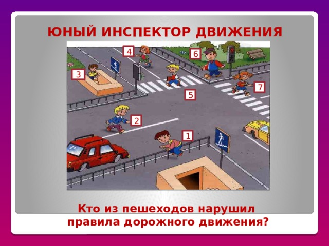 ЮНЫЙ ИНСПЕКТОР ДВИЖЕНИЯ 4 6 3 7 5 2 1 Кто из пешеходов нарушил правила дорожного движения?