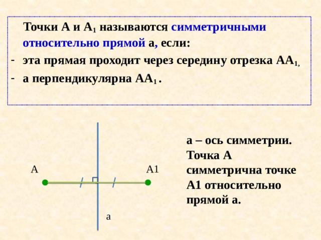 Точки А и А 1 называются симметричными относительно прямой а , если: эта прямая проходит через середину отрезка АА 1, а перпендикулярна АА 1 . a – ось симметрии. Точка А симметрична точке А1 относительно прямой а. А А1 а