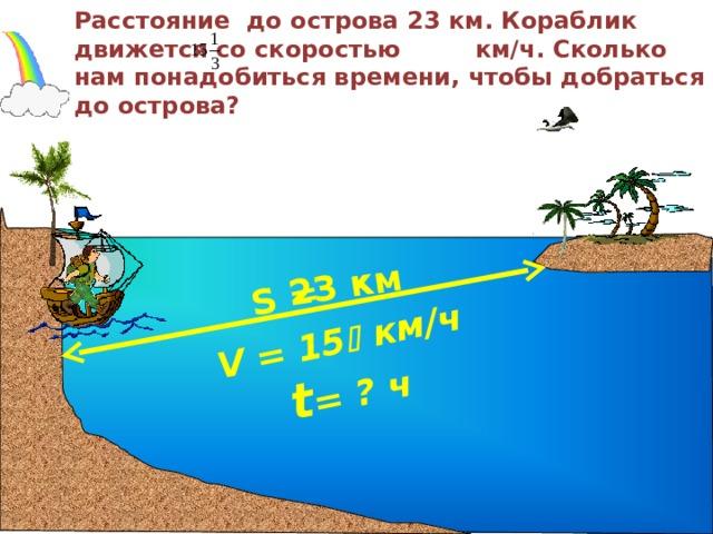 V = 15   км/ч S = 23 км  t = ? ч Расстояние до острова 23 км. Кораблик движется со скоростью км/ч. Сколько нам понадобиться времени, чтобы добраться до острова?