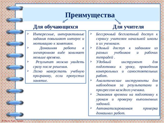 Преимущества Для обучающихся Для учителя