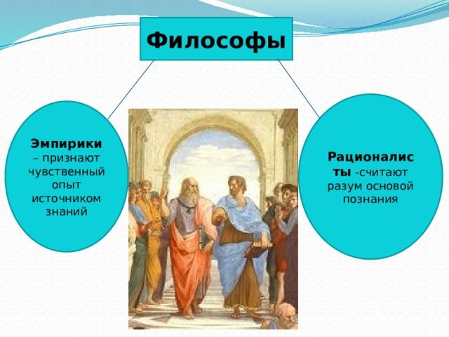 Философы Рационалисты -считают разум основой познания Эмпирики – признают чувственный опыт источником знаний 5