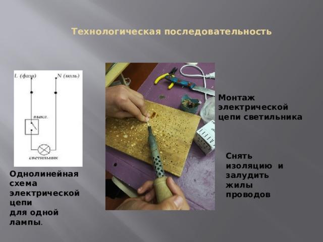 Технологическая последовательность Монтаж электрической цепи светильника Снять изоляцию и залудить жилы проводов Однолинейная схема электрической цепи для одной лампы .