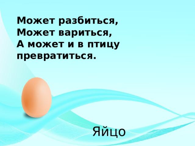 Может разбиться, Может вариться, А может и в птицу превратиться. Яйцо