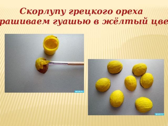 Скорлупу грецкого ореха окрашиваем гуашью в жёлтый цвет