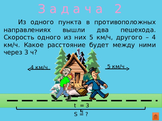 З а д а ч а 2   Из одного пункта в противоположных направлениях вышли два пешехода. Скорость одного из них 5 км/ч, другого – 4 км/ч. Какое расстояние будет между ними через 3 ч? 5 км/ч 4 км/ч t = 3 ч S = ?