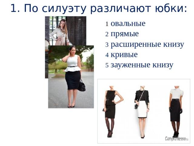 1. По силуэту различают юбки: 1  овальные 2 прямые 3 расширенные книзу 4 кривые 5 зауженные книзу