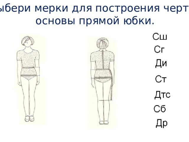 5. Выбери мерки для построения чертежа основы прямой юбки.