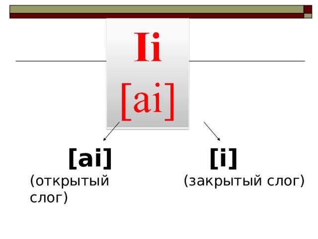 [ai] (открытый слог)  [i] (закрытый слог)