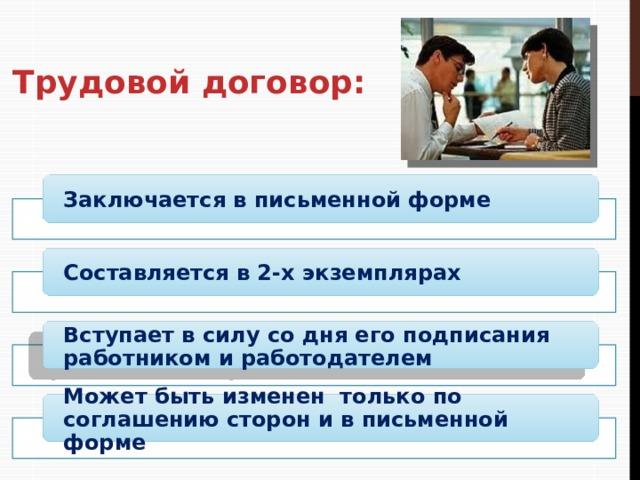 Трудовой договор: Заключается в письменной форме Составляется в 2-х экземплярах Вступает в силу со дня его подписания работником и работодателем Может быть изменен только по соглашению сторон и в письменной форме