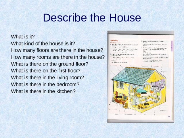 Describe the House What is it? What kind of the house is it? How many floors are there in the house? How many rooms are there in the house? What is there on the ground floor? What is there on the first floor? What is there in the living room? What is there in the bedroom? What is there in the kitchen?
