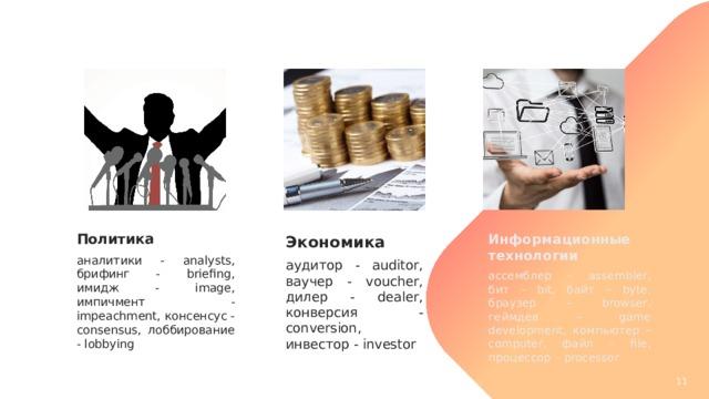 Политика Информационные технологии аналитики - analysts, брифинг - briefing, имидж - image, импичмент - impeachment, консенсус - consensus, лоббирование - lobbying ассемблер – assembler, бит – bit, байт – byte, браузер – browser, геймдев – game development, компьютер – computer, файл – file, процессор – processor Экономика аудитор - auditor, ваучер - voucher, дилер - dealer, конверсия - conversion, инвестор - investor