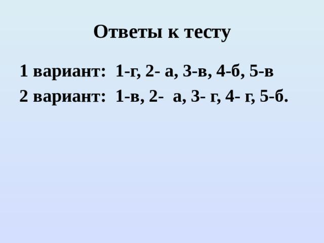 Ответы к тесту 1 вариант: 1-г, 2- а, 3-в, 4-б, 5-в 2 вариант: 1-в, 2- а, 3- г, 4- г, 5-б.