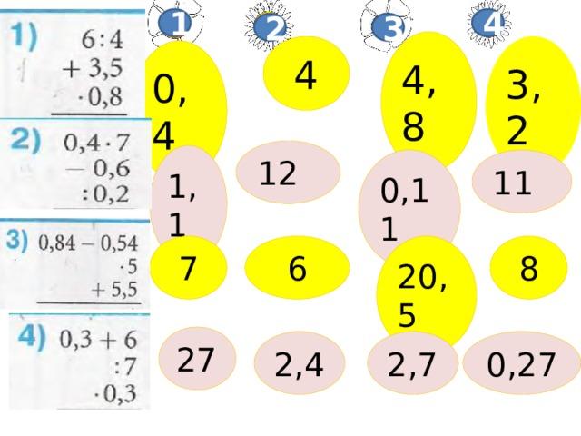 4 1 2 3 4,8 3,2  4 0,4 12 1,1 0,11 11 20,5 8 6 7 27 0,27 2,7 2,4