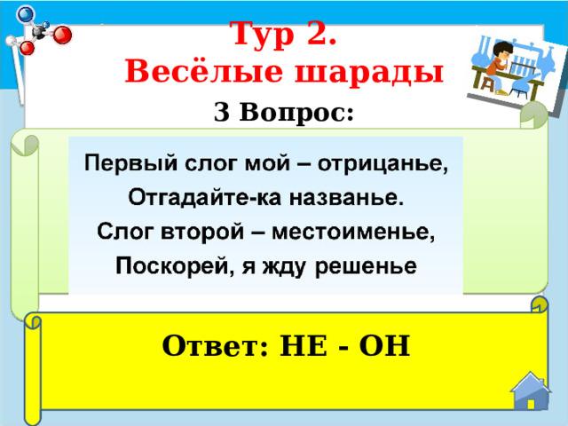 Тур 2.  Весёлые шарады 3 Вопрос:  Ответ: НЕ - ОН