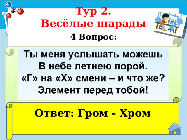 Тур 2.  Весёлые шарады 4 Вопрос:  Ответ: Гром - Хром