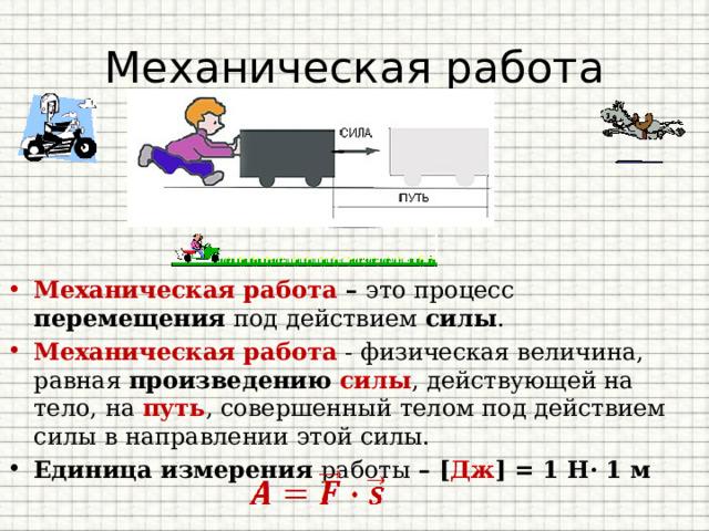 Механическая работа Сила Путь Работа