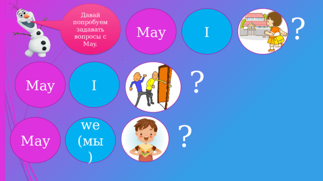Давай попробуем задавать вопросы с May. May I ? May I ? ? May we (мы)