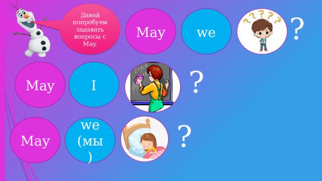 Давай попробуем задавать вопросы с May. May we ? May I ? ? May we (мы)